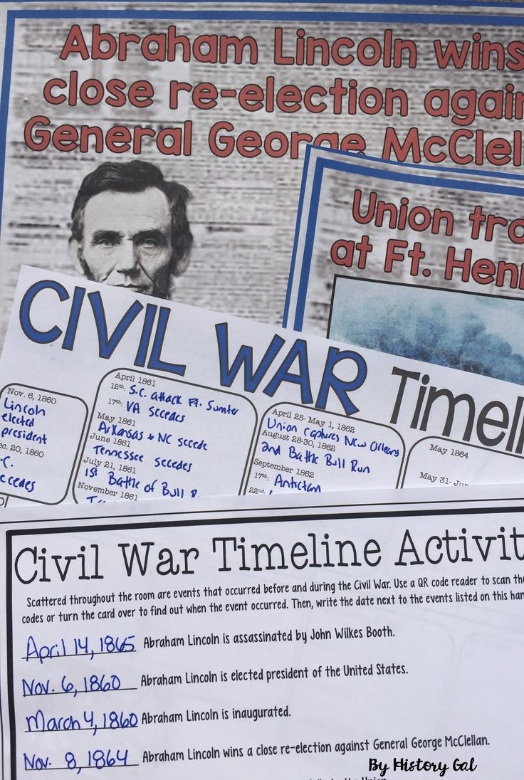Civil War Timeline Activity (With and Without QR Codes) - Scatter the 35 event cards around the room and let students learn about the events that began 1860 with the election of Abraham Lincoln and ended in 1865 with the surrender of the last Confederate general. Digital and paper/pencil versions available. Great for your upper elementary, middle school, and high school United States History lessons and units. (4th, 5th, 6th, 7th, 8th, 9th, 10th, 11th, 12th grade - homeschool)