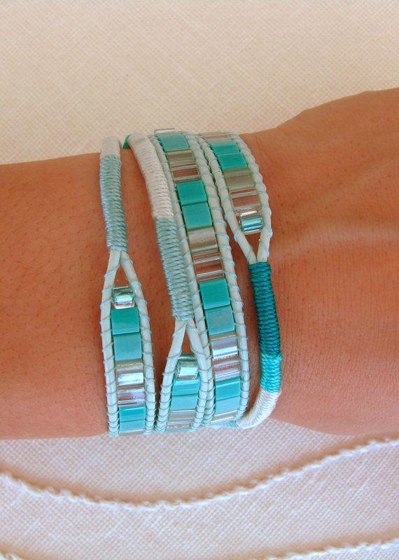 Macrame and beaded wrap bracelet in teal