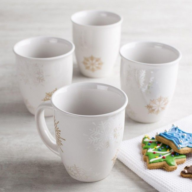 Warm up this season with our Christmas Porcelain Mugs. Each set comes with four festive mugs that are microwave and dishwasher safe.