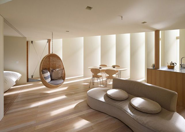 House in Muko by FujiwaraMuro Architects (Kyoto Prefecture, Japan). The living area, on the ground floor.