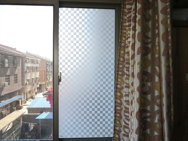 Free shipping 45 x100cm17.7 x39.3 white squares 3 D static bathroom privacy glass window decals 98058