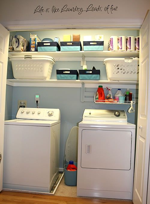 "Good use of wall/shelf space, like the soft color on the wall. Perhaps a ""pan"" under the washer to catch any leaks and save floor below?? DLW"