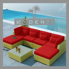MODENZI 7C Modern Outdoor BUTTER PE Wicker Sofa Patio Furniture Set Couch chairs