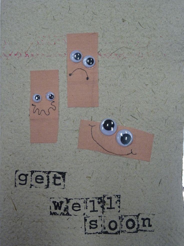 De leerlingen van juf Inne wensen haar veel beterschap. (Handgeschept papier + collage)