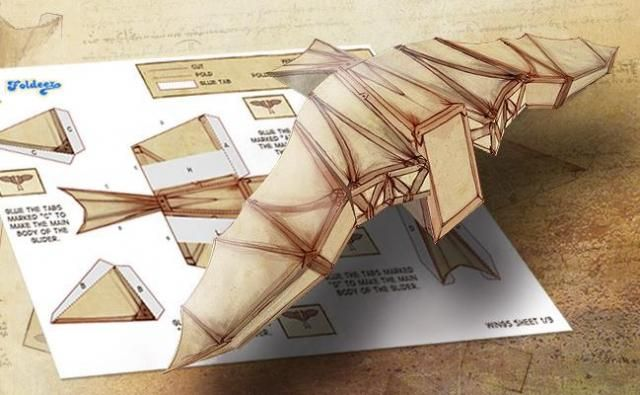 Leonardo Da Vinci Glider Paper Model - by British Broadcasting Corporation  - == - From BBC, here are the Leonardo Da Vinci Wings, a great paper model that is perfect for School Works.