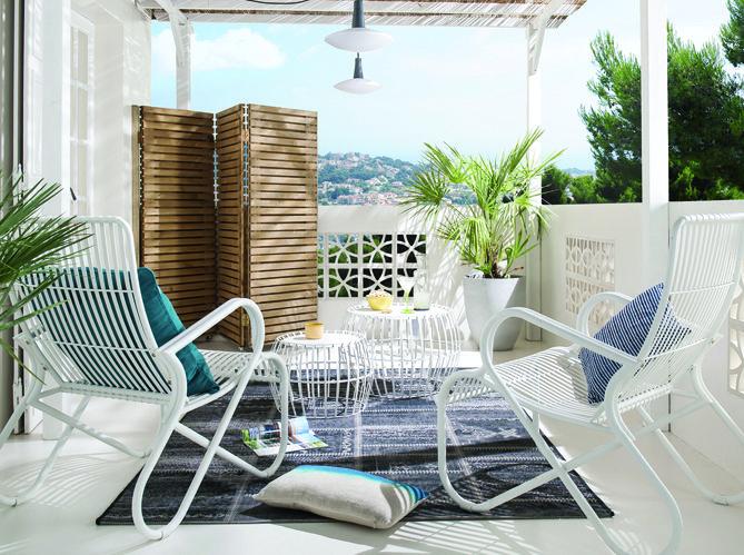 #vacances #sud #paravent #transat #tapis #terrasse #bleu #blanc #plantes