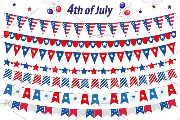 American Independence Day, celebration in USA, set bunting, flags, garland. Collection of decorative elements for July 4th national holiday. Vector illustration, clip art. Graphics American Independence Day, celebration in USA, set bunting, flags, garland. Collection of decorative by Lucia Fox