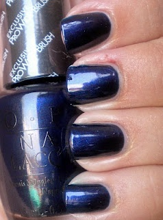 I love this color, edgy, classy, and super sexy when worn with peep toe pumps or strappy high heel sandals.  OPI Russian Navy nail polish