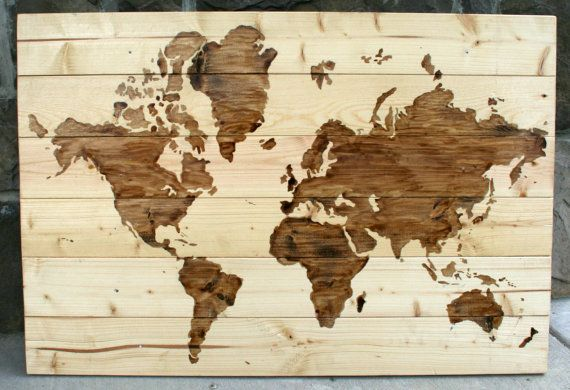 DIY -wood map art. pegarle una cajita con pines de colores