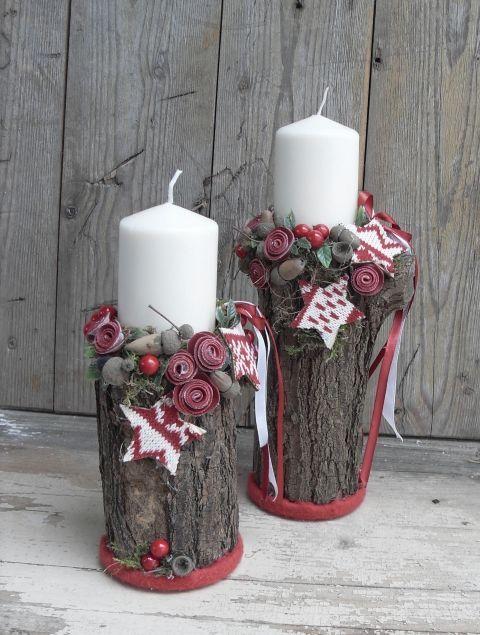 Skandináv rönkök - karácsonyi hangulatú gyertyatartó, Dekoráció, Otthon, lakberendezés, Ünnepi dekoráció, Gyertya, mécses, gyertyatartó, A hidegebb idők beálltával bekukkantottam a fáskamrába, hogy felmérjem a tűzifa helyzetet. Ot..., Meska: