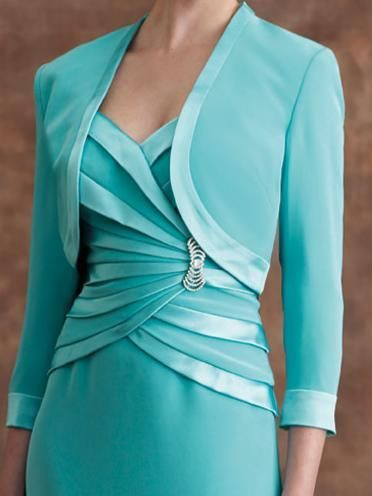 tea length dresses with sleeves in aqua | ... Montage by Mon Cheri T-Length Mother of the Bride Dress 28901T image