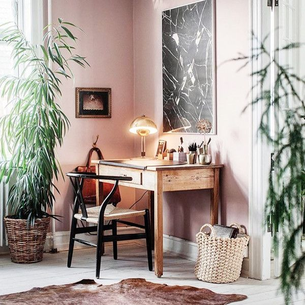 Fabulous Use Of A Nook For A Work Space. LOVE The Pink Walls.