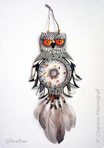 Поделка изделие Лепка Плетение Совушка - ловец снов Бусины Камень Тесто соленое фото 1