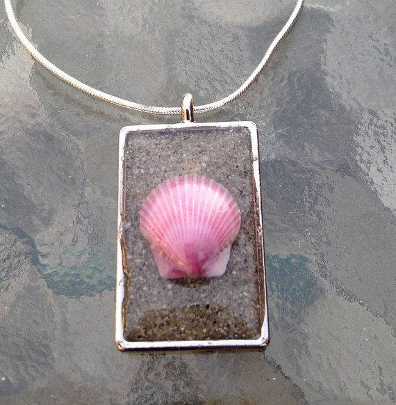 Shell and Sand Pendant Encased in Resin  Your by PrairieStarJewels, $24.00