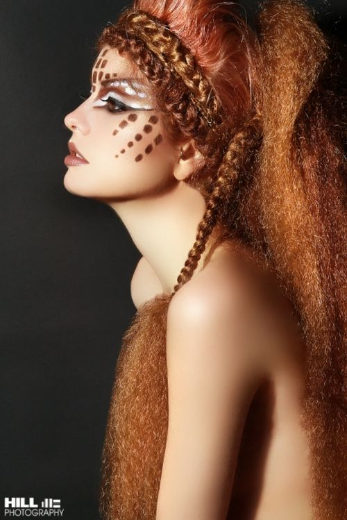 Tribal, red Hair, wild Make-Up, Carnival, Inspiration I natur, rote Haare…
