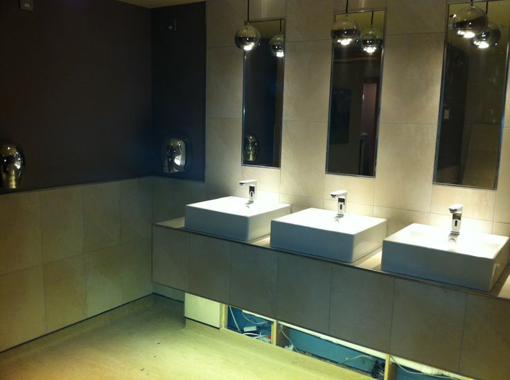Brand new Washroom block in a Restaurant. How long will it stay this clean for? #squarebasin #modern #floorlights