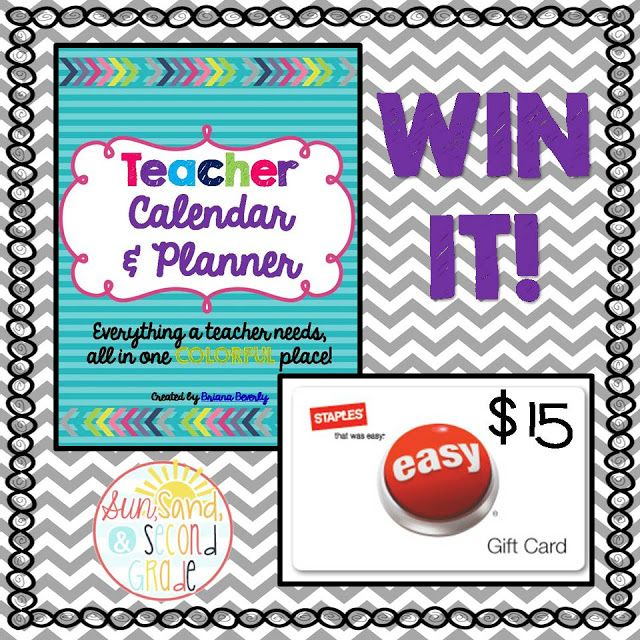 Giveaway open until Tuesday, July 7th!!!! Enter to win a Teacher Calendar & Planner, AND a $15 Staples gift card to help ya print it!!!!!!!!! :)