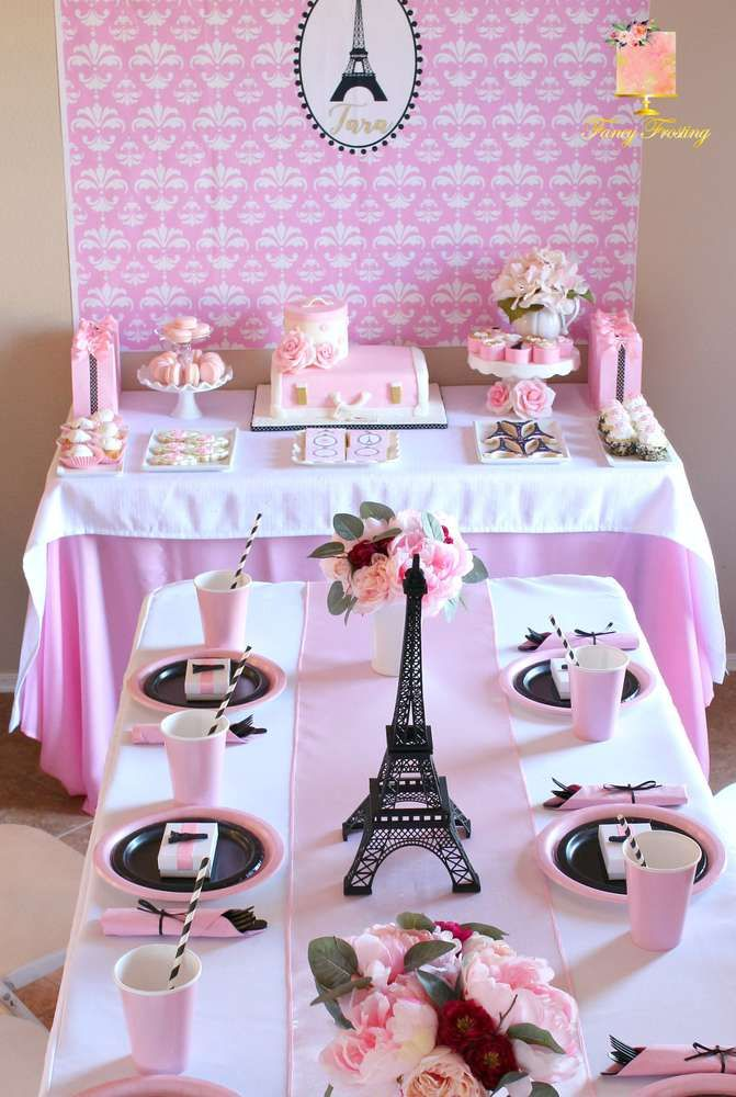 French Parisian Birthday Party Ideas Photo 1 Of 25 Catch My Party Parisian Birthday Party Paris Themed Birthday Party Paris Party Decorations