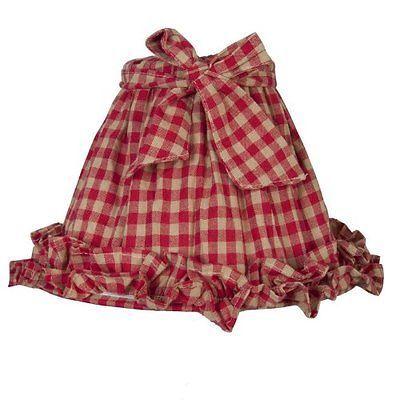 Clayre & Eef, paralume in tessuto a quadretti rosso-sabbia