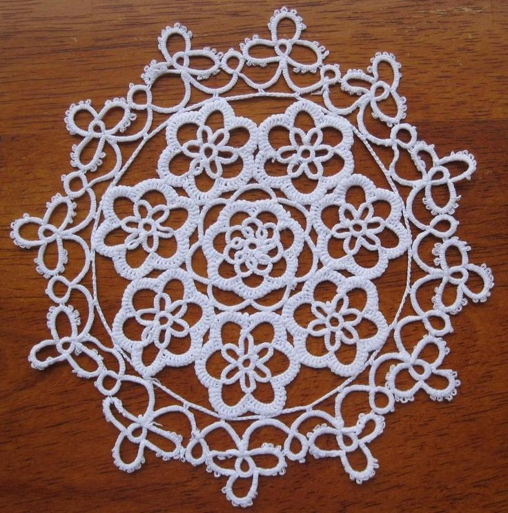 Pair of  Vintage Tatting Lace DOILIES in White 15cms x 15cms Never Used but stored over a long period of time so I  have *Washed *Starched *Ironed