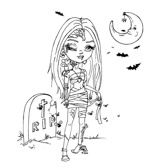 Beautiful Girl Zombie Coloring Page