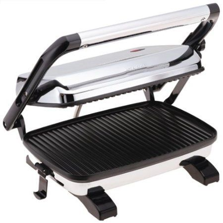 Hamilton Beach 25450 Gourmet Panini Press with Mini Tool Box (fs) Gourmet sandwich press for deli-style grilled panini at home. Floating lid makes even contact with thick or thin sandwiches. Nonstick grids measure 8-1/2 by 12 inches. Power and preheat lights; locking lid; upright storage design. Grill unit measure 13-1/2 by 11-1/2 by 4 inches; 2-year warranty.  #Single_Detail_Page_Misc