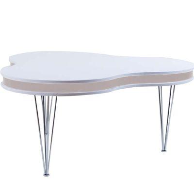 Treklöver soffbord, vit/ek
