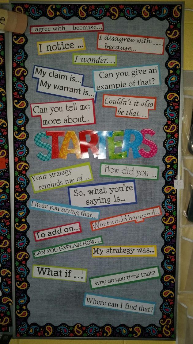 Sentence starters bulletin board