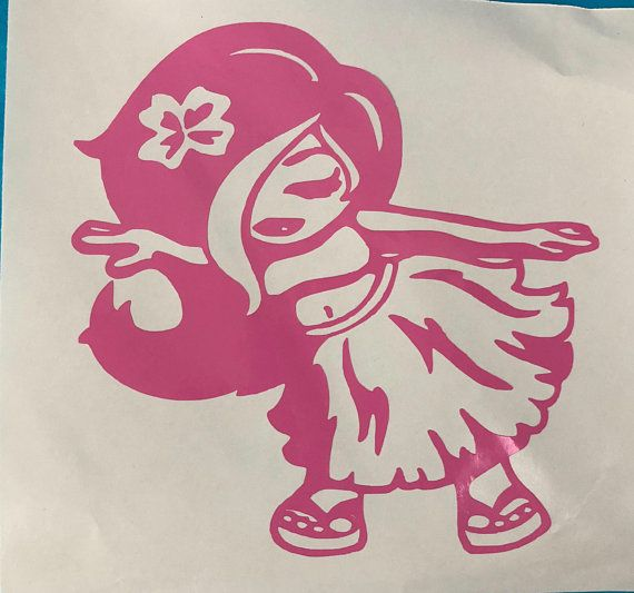 Hula Dancer With Hibiscus Flower In Her Hair Pink Vinyl Decal Sticker For Electronics Cars Windows Etc Appr Vinyl Decals Vinyl Decal Stickers Cool Cars