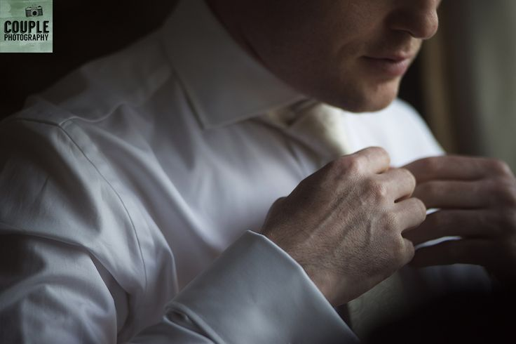 Detail of the groom getting ready the morning of the wedding. Weddings at Cabra Castle photographed by Couple Photography.