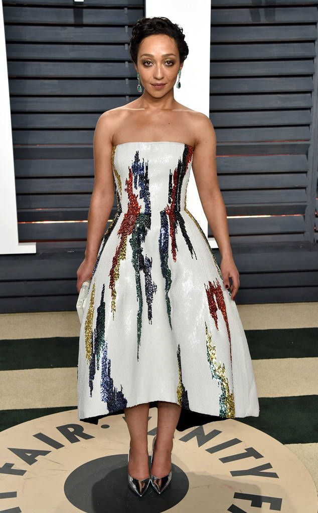 Ruth Negga from 2017 Vanity Fair Oscars After-Party  The Loving Oscar nominee opted for a strapless cocktail dress with a vibrant print.