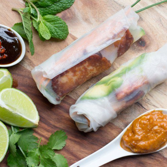 Vegetarian Rice Paper Rolls Made With Creamy Avocado Crunchy Carrots And Cubers Silky Vermicelli