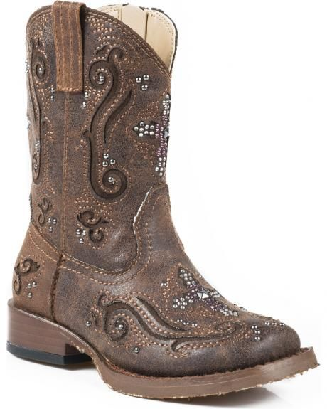 Roper Toddler's Pink Crystal Cross Inlay Cowgirl Boots - Square Toe