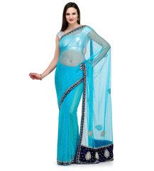 Turquoise Net Saree with Pearl Work | Fabroop USA | $71.00 |