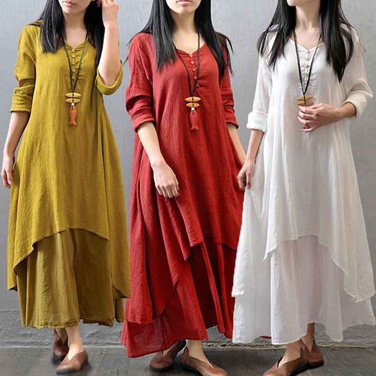Свободного покроя твердых осень платье 2015 женщины элегантный свободный полный рукавом V шеи платье хлопок белье Boho платье длиной макси Vestidos Большой размер купить на AliExpress