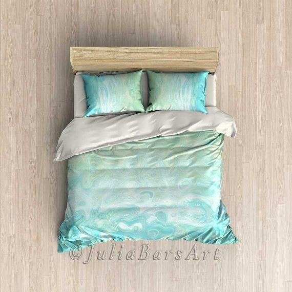 Aqua Bedroom Decor Blue Duvet Cover Mint Blue by DesignbyJuliaBars