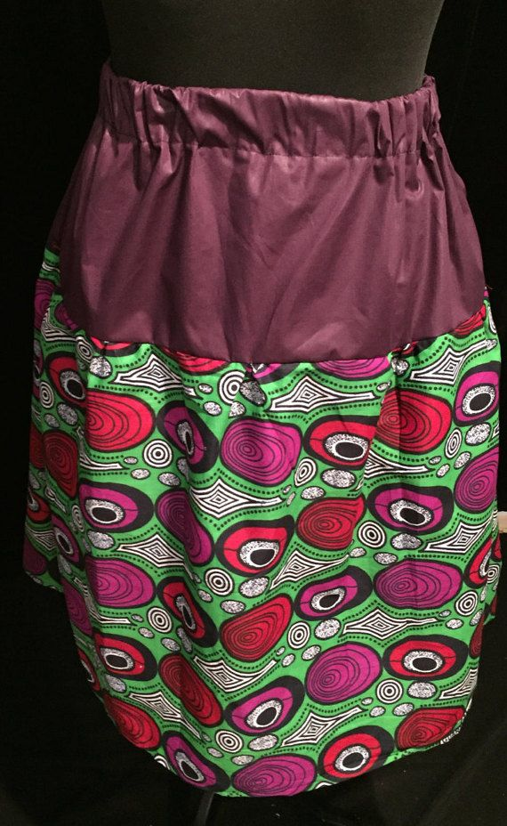 Purple Block and African Constellation Print Midi Skirt - Large/Extra Large