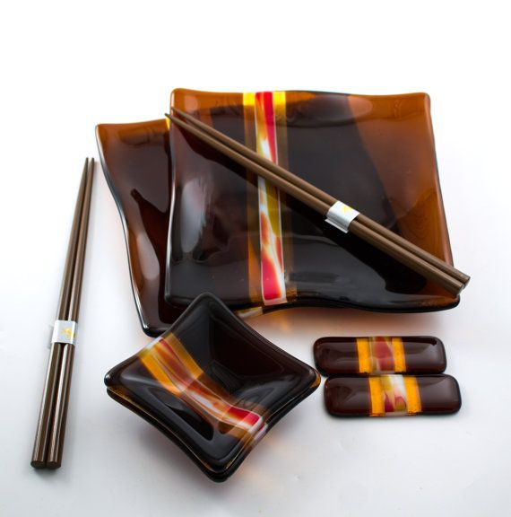 Asian Dinnerware  Sushi Set  Fused Glass  Dark by Nostalgianmore