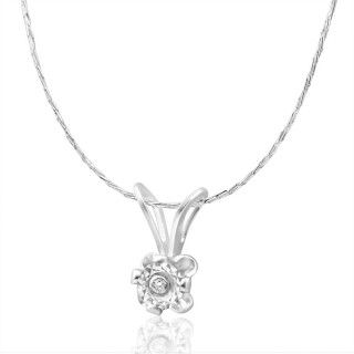 Diamond Illusion Pendant in Sterling Silver image-a