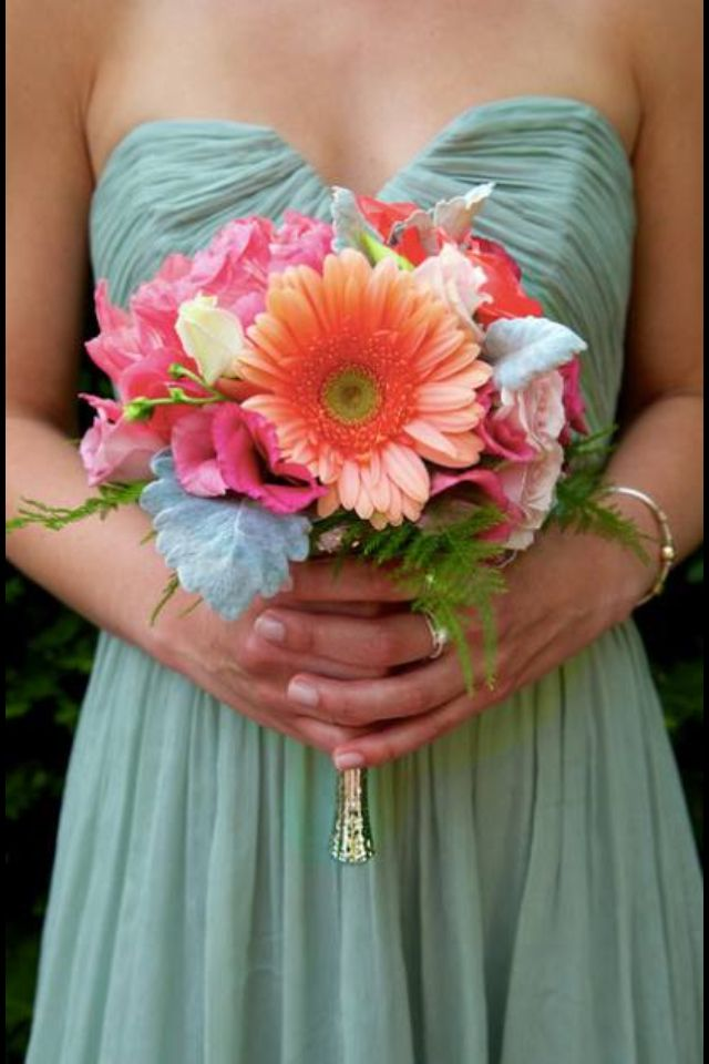 Colorful pink and coral bouquet with dusty shale bridesmaid dress- perfect combination!