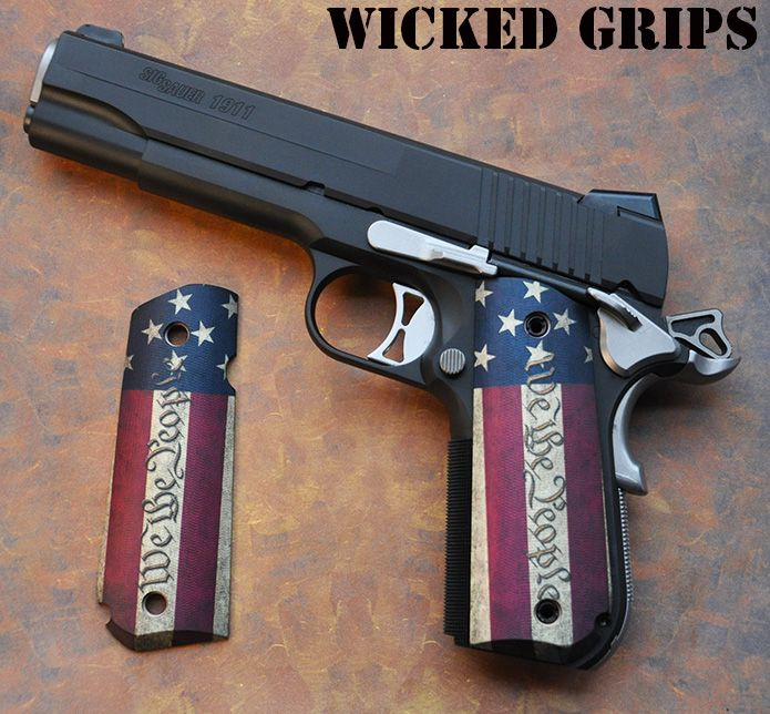 "SIG 1911 FASTBACK GRIPS ""WE THE PEOPLE VERSION 2"" - WICKED GRIPS"