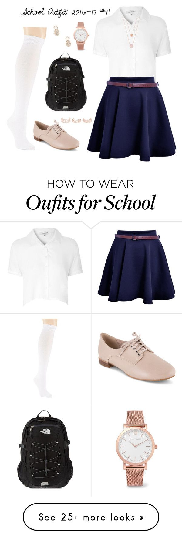 """""""School Outfit 2016-17 #1!"""" by designer01kitty on Polyvore featuring Glamorous, Hue, Clarks, The North Face, Larsson & Jennings, Michael Kors, New Look, Sole Society, school and uniform"""