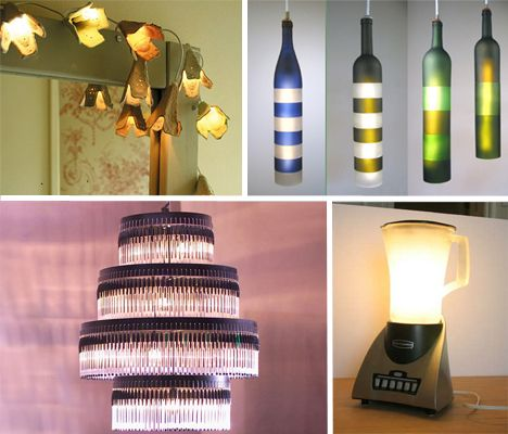 Creative recycled lamps: Lights Fixtures, Trav'Lin Lights, Bottle Lights, Antiques Lamps, Wine Bottle, Eggs Cartons, Recycled Crafts, Recycled Lamps, Lights Ideas