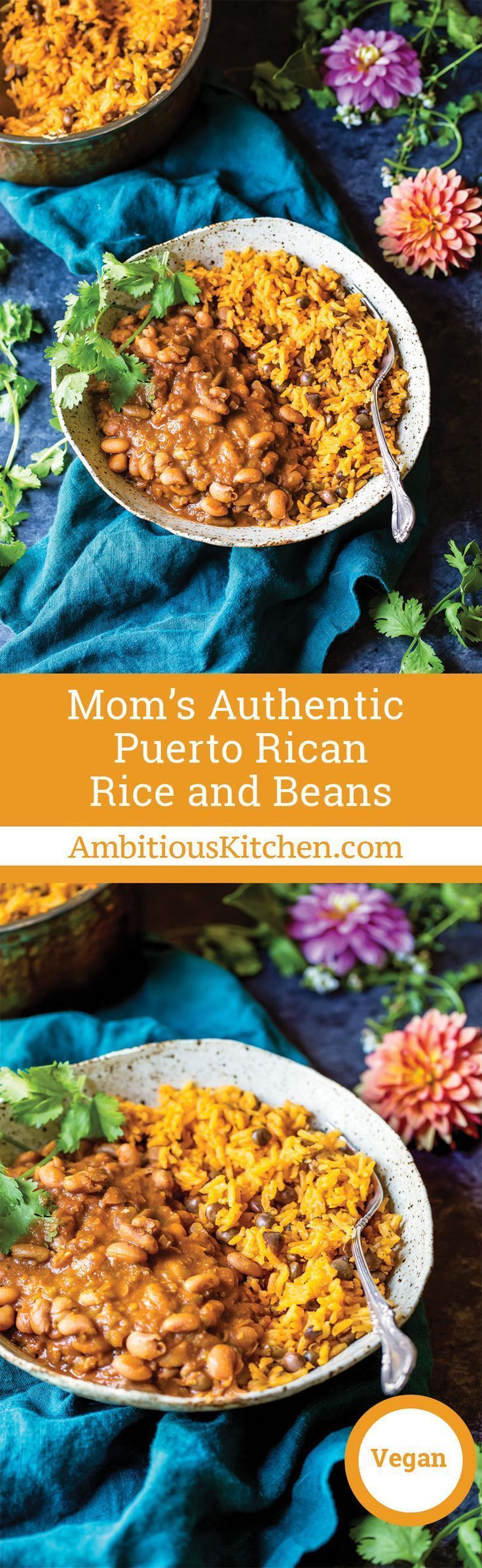 Mom�s authentic Puerto Rican Rice and Beans with savory homemade sofrito and sazon! You�ll love this incredibly flavorful, comforting homemade meal that will fill your home with unbelievably delicious smells. The perfect recipe to serve a crowd or just sa