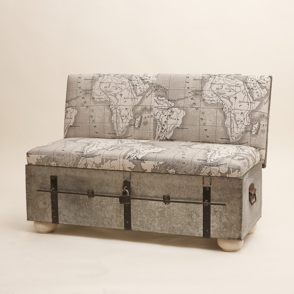Suitcase Chair Metal Trunk Map