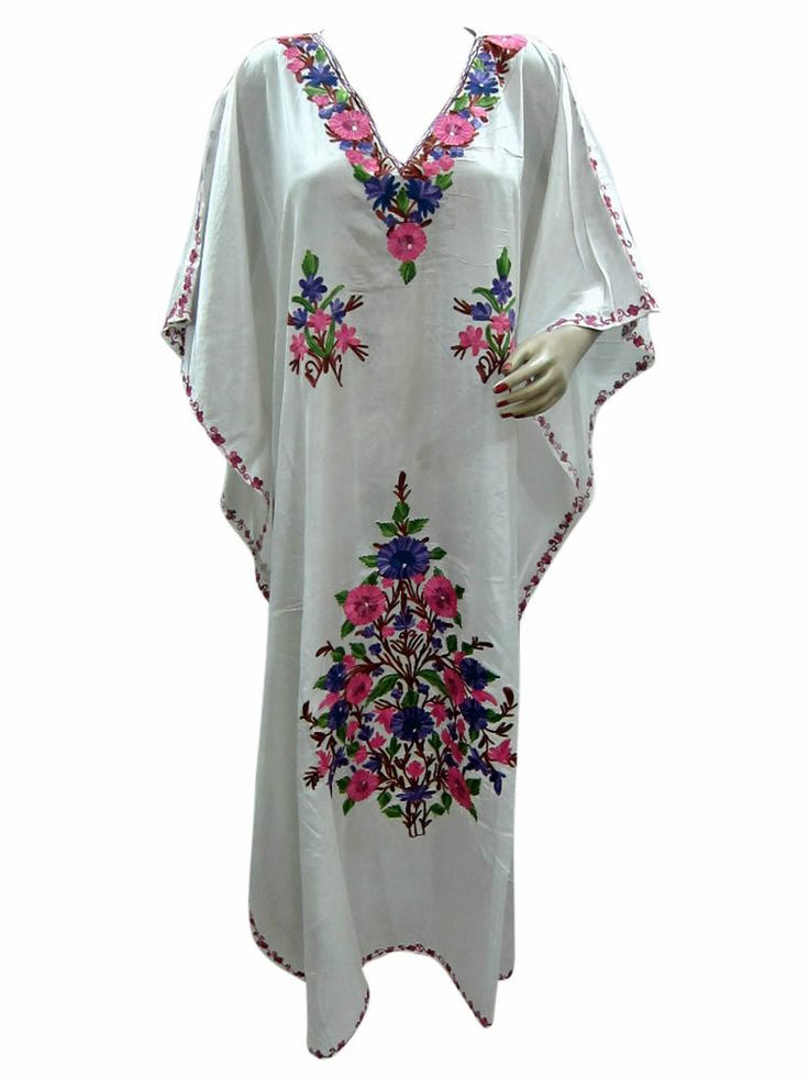 Women's Bohemian Nighty Kashmir Crewel Embroidered Long White Caftan