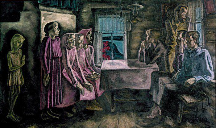 Виктор Попков. Северная песня. Из цикла «Мезенские вдовы». 1968