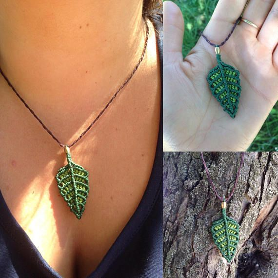 Macrame leaves pendant. Fairy necklace. Grean leaves pendant.