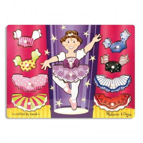Ballerina Peg Puzzle    This wooden peg puzzle includes ten interchangeable pieces, allowing children to design unique and beautiful dance costumes for the ballerina. This puzzle encourages hand-eye, fine motor and creative expression skills.