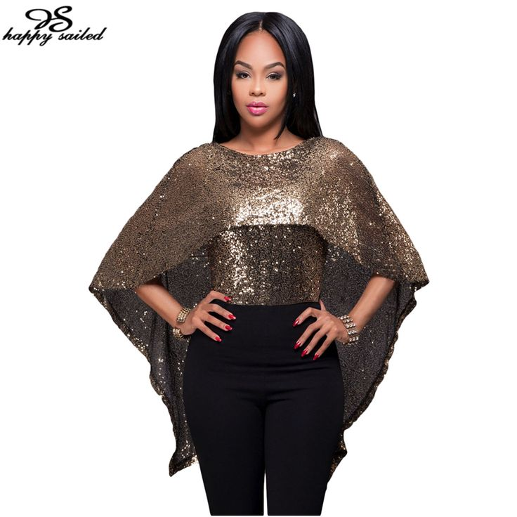 Happy Sailed Women Clothes New 2017 Summer Shirts vetement femme Batwing Sleeve T-shirt Black Gold Sequins Tops 25999